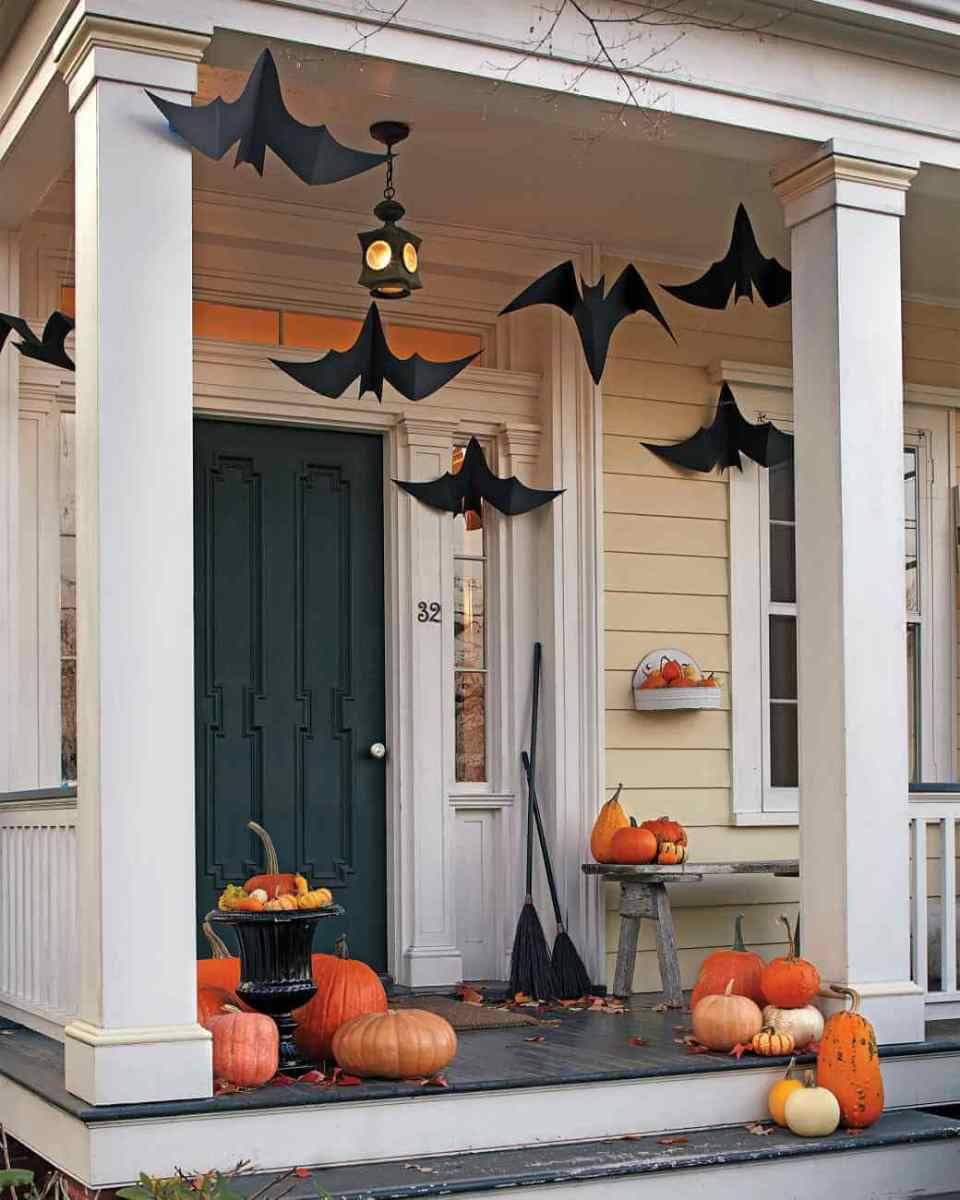 Uncomplicated Bat Decorations | Scary DIY Halloween Porch Decoration Ideas | vintage halloween porch