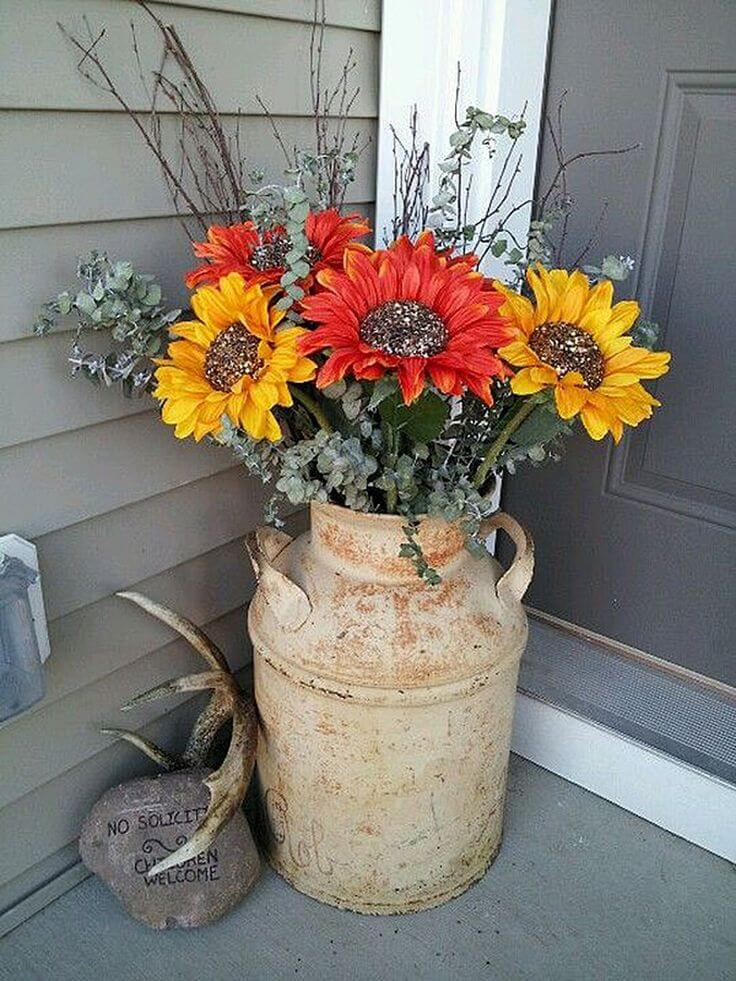 Sunflowers in a Milk Can   Vintage Porch Decor Ideas