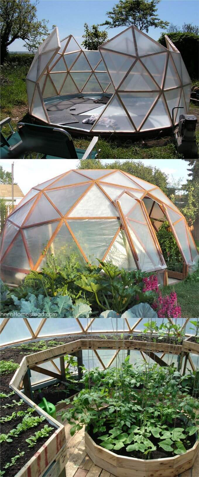 An Igloo-Inspired Walk-in Garden Green House | Build a beautiful outdoor greenhouse | Creative Greenhouse DIY plans
