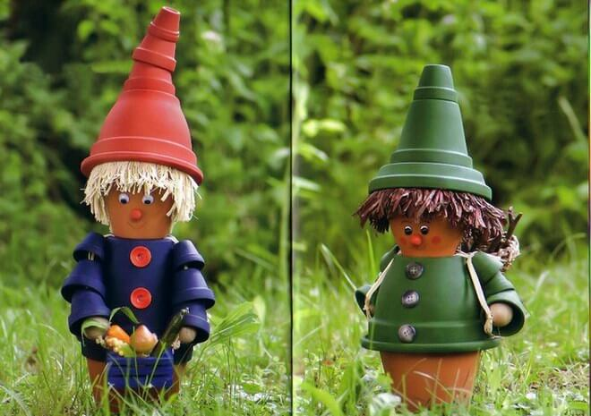 The Wee People Dressed in Colored Pots | DIY Painted Garden Decoration Ideas