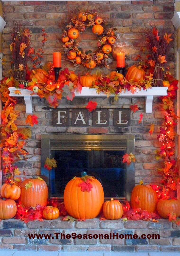 Pumpkins and Fall Go Together Perfectly | Fall Mantel Decorating Ideas For Halloween