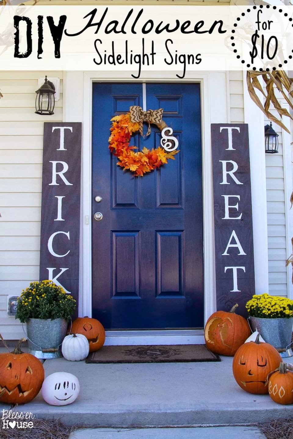 A Simple Halloween Welcome   Scary DIY Halloween Porch Decoration Ideas   vintage halloween porch