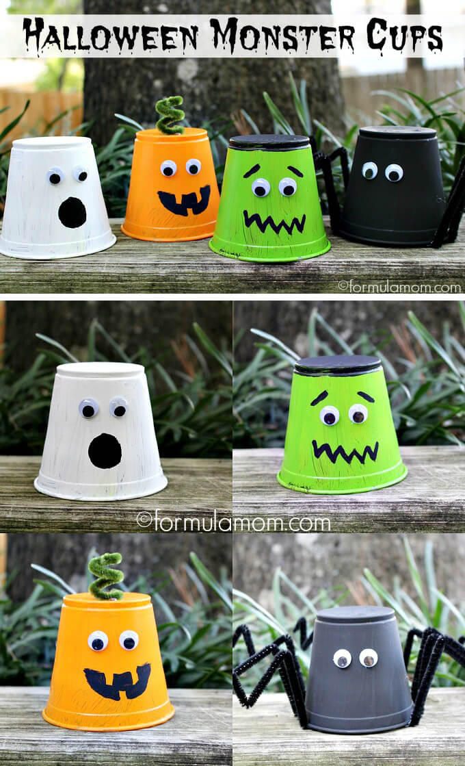 Party Cup Monsters | Fun & Creative DIY Halloween Crafts for Kids