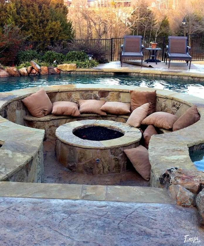 A Pit with Pillow in a Pool | Awesome Firepit Area Ideas For Your Outdoor Activities