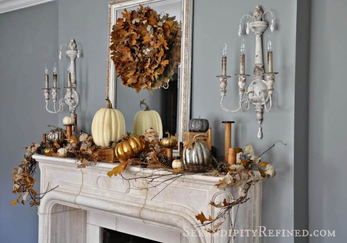 Traditional Mantel Takes on Fall | Fall Mantel Decorating Ideas For Halloween