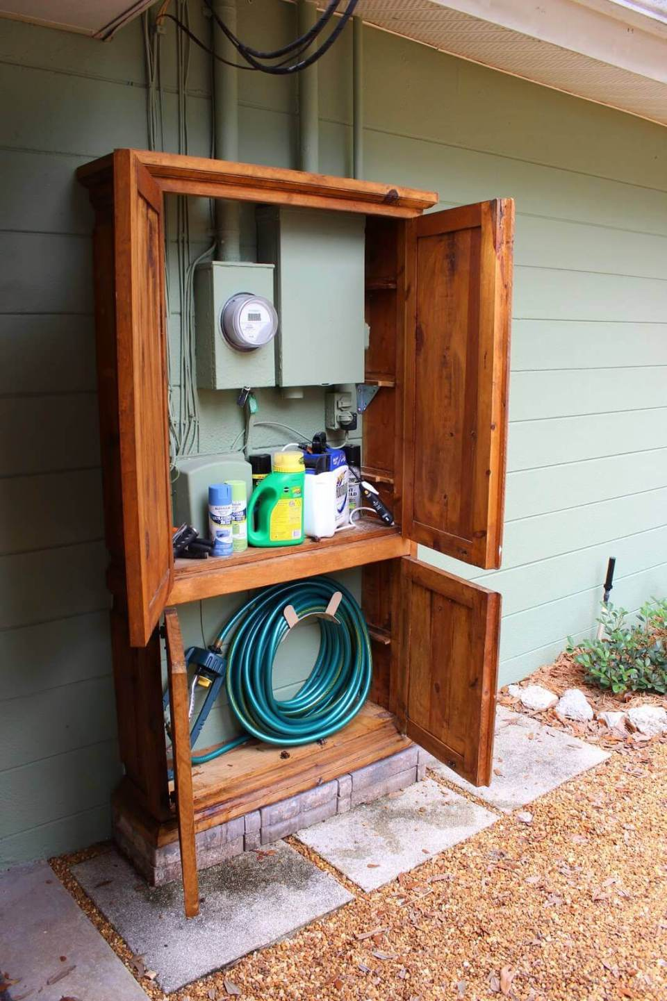 Lovely Cabinet Hides Utility Box and Garden Tools | Outdoor Eyesore Hiding Ideas