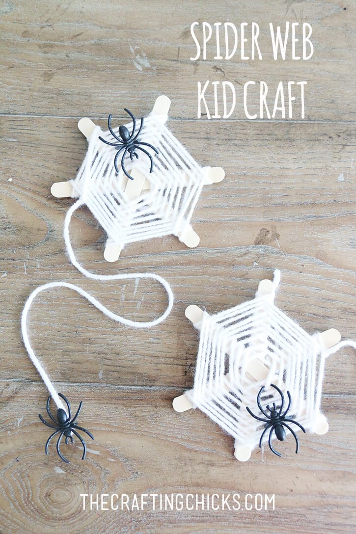 Woven Craft Stick Spider Webs | Fun & Creative DIY Halloween Crafts for Kids