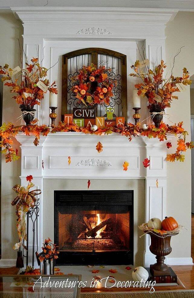 Thanksgiving at a Glance | Fall Mantel Decorating Ideas For Halloween