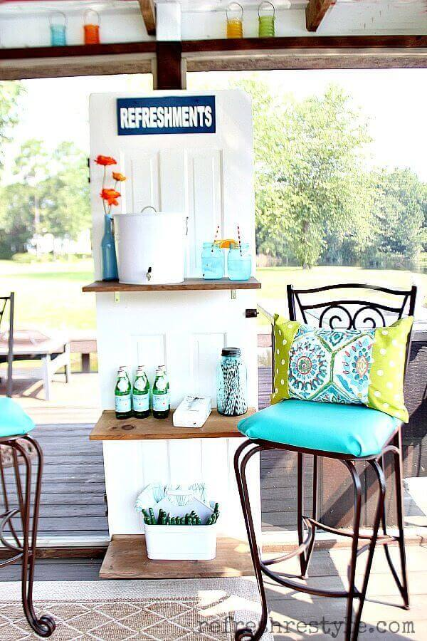 Repurposed Door makes a Beverage Station | Creative Repurposed Old Door Ideas & Projects For Your Backyard