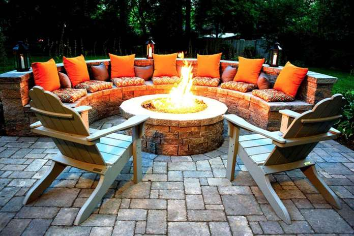 Orange Glowing Round Firepit Area Idea | Awesome Firepit Area Ideas For Your Outdoor Activities