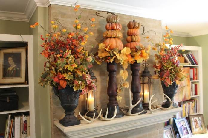Fall Tradition Enlivens this Library | Fall Mantel Decorating Ideas For Halloween