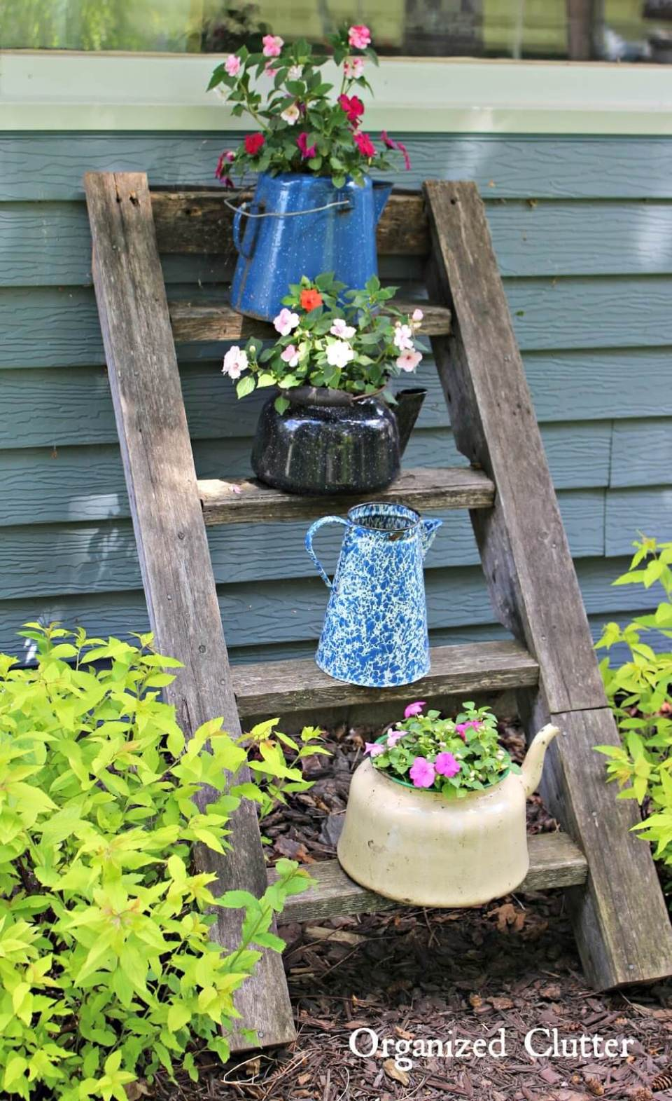 Vintage Garden Decor Ideas: Vintage Coffee Pot Planters with Ladder Display