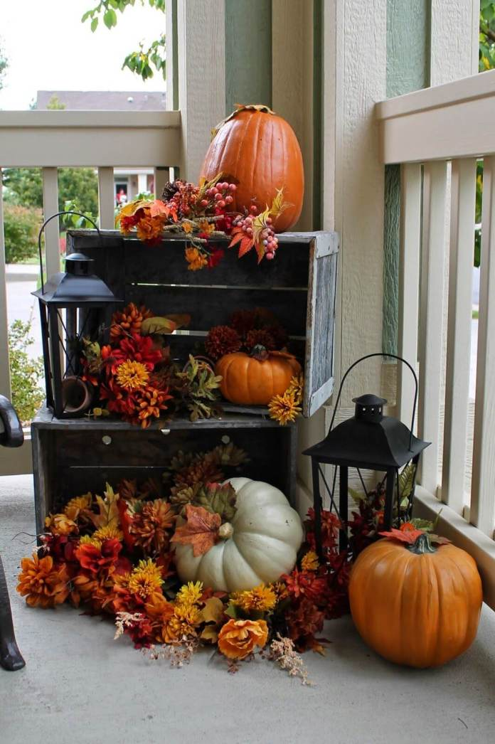A Subtle Yet Colorful Fall Combination | Fall Porch Decoration Ideas | Porch decor on a budget