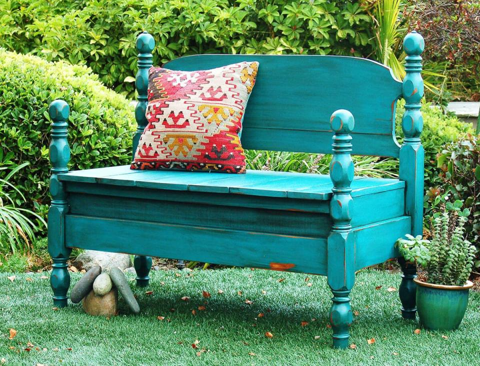 Outdoor DIY Bench Ideas: Four-Poster Splash-Of-Color Up-Cycled Head-Board Bench