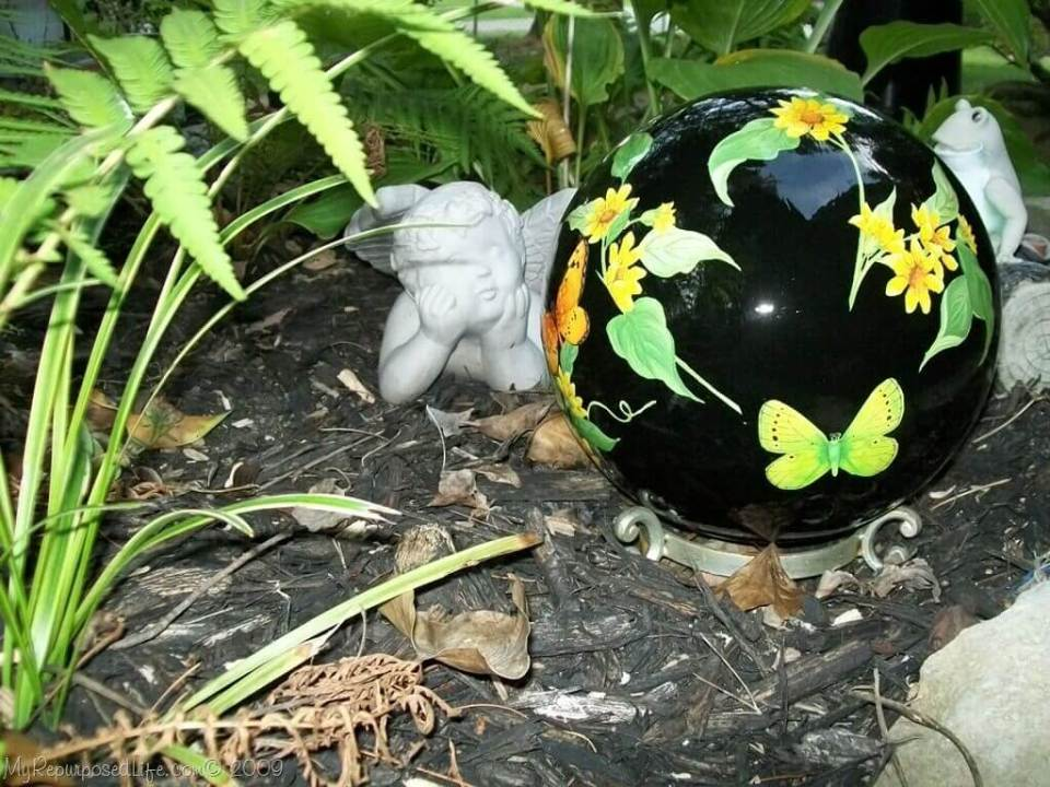 Hand Painted Leaves, Flowers, and Butterflies | DIY Garden Ball Ideas