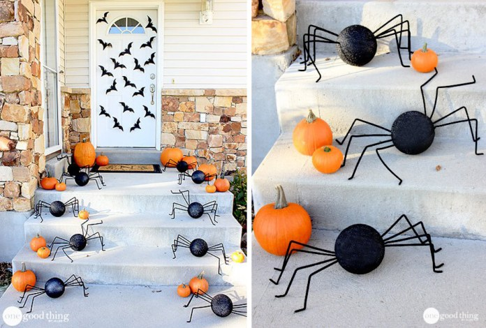 Spider and Bat Invasion | Scary DIY Halloween Porch Decoration Ideas | vintage halloween porch