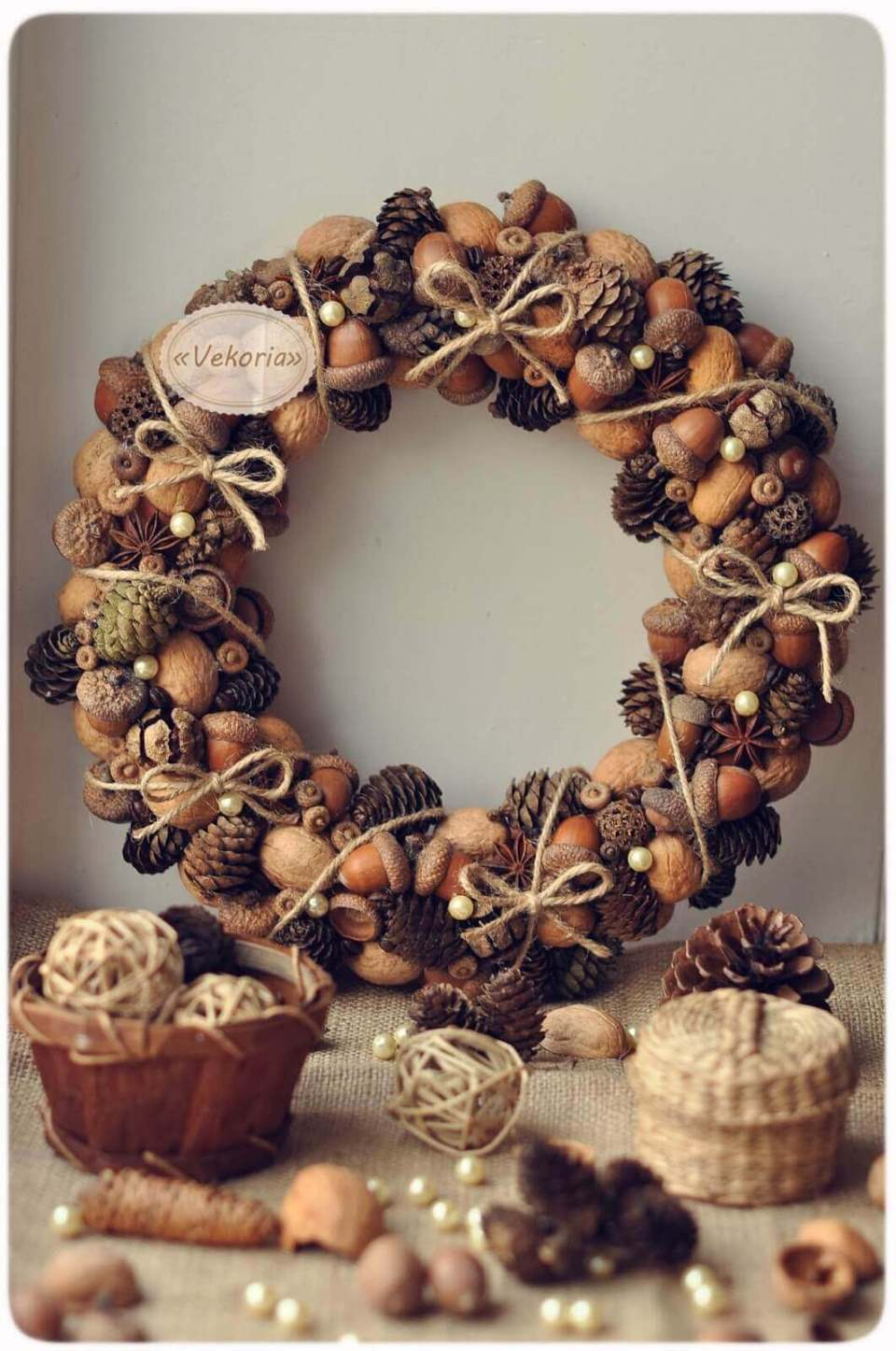 Acorn and Pinecone Plethora with Bow-tied Twine