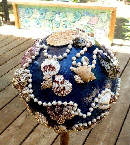A Seashell Fantasy with Pearls | DIY Garden Ball Ideas