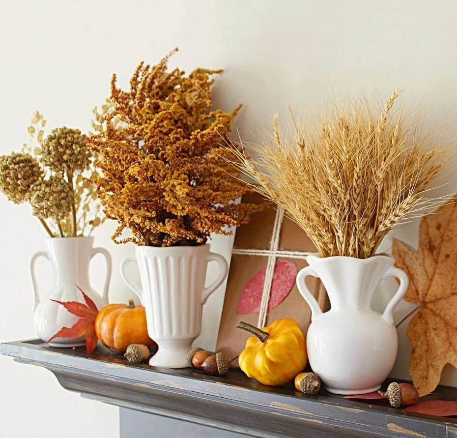 Bring the Outside in for a Taste of Fall | Fall Mantel Decorating Ideas For Halloween