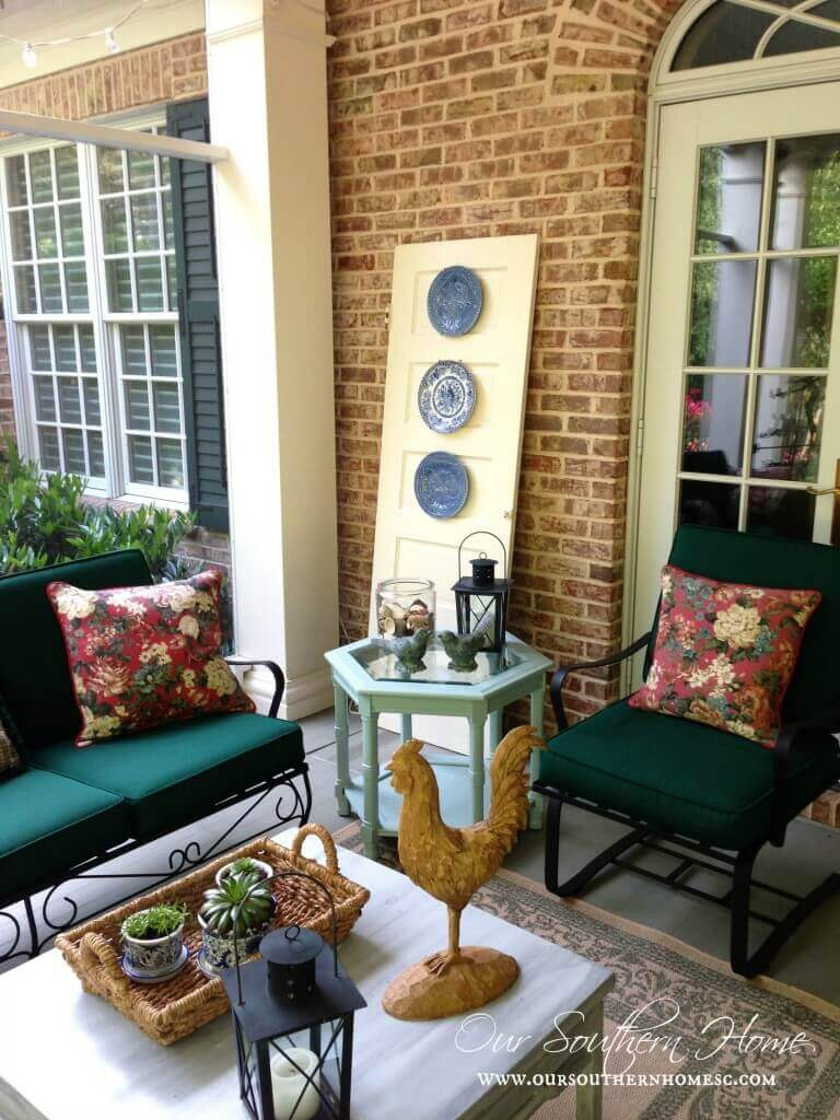 Yellow Door with Hanging Plates | Creative Repurposed Old Door Ideas & Projects For Your Backyard