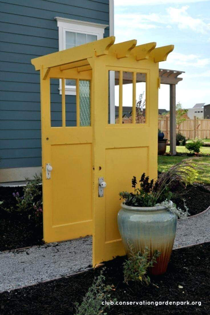 Brightly Painted Doors Make a Pergola | Creative Repurposed Old Door Ideas & Projects For Your Backyard
