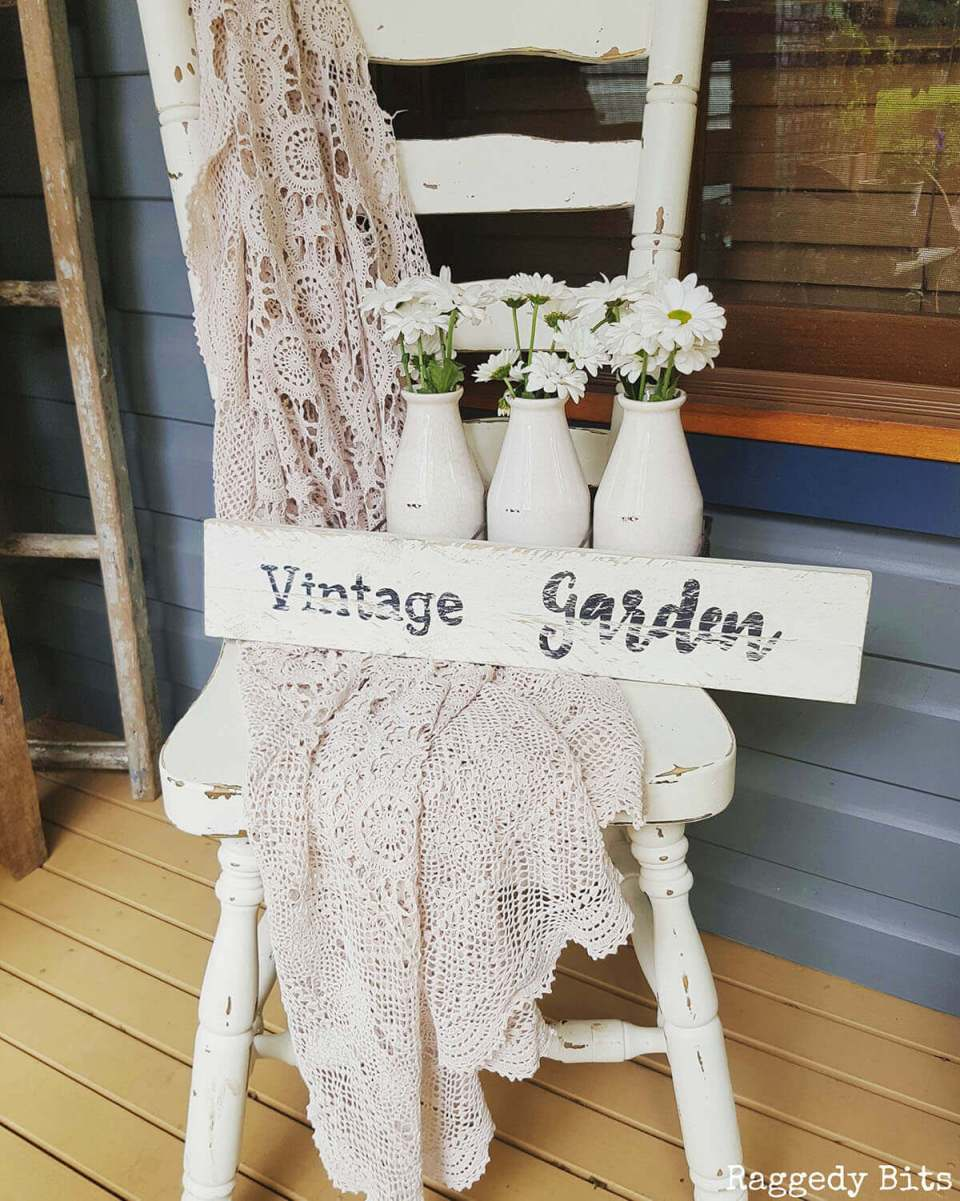 White on White Design with Sign and Throw   Funny DIY Garden Sign Ideas