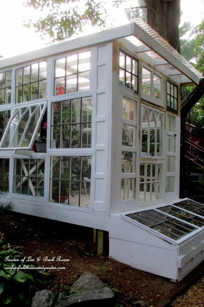 Glass Gardening House with Plenty of Windows   Build a beautiful outdoor greenhouse   Creative Greenhouse DIY plans
