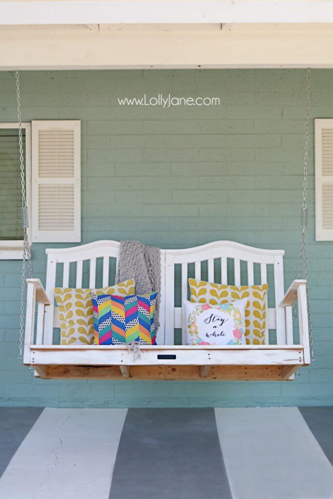 Swinging Over Gray and White Striped Floor | DIY Painted Garden Decoration Ideas