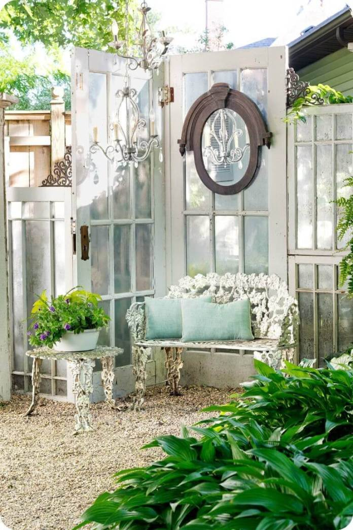 Graceful Garden Corner with Old Doors | Creative Repurposed Old Door Ideas & Projects For Your Backyard