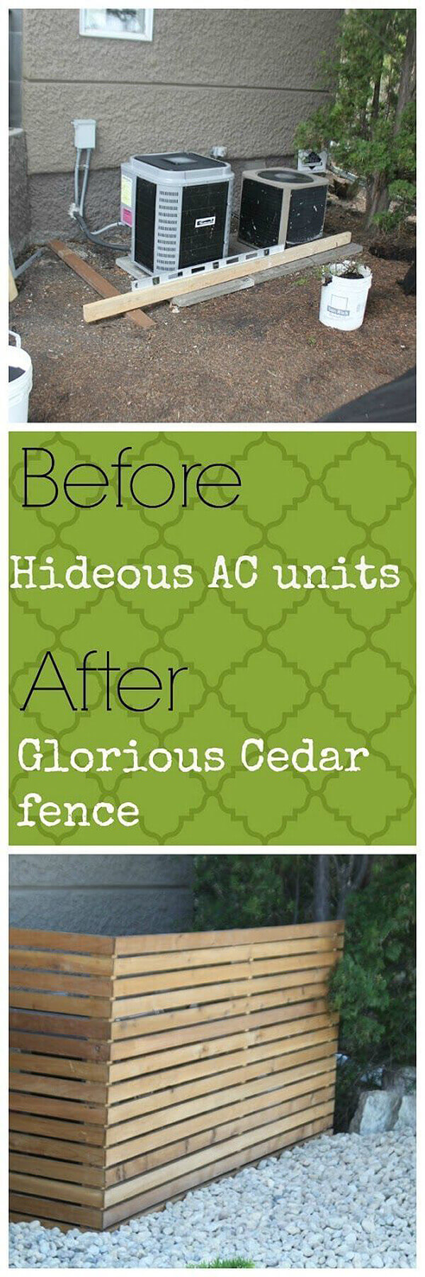 Clean Cedar Lines Hide Your AC | Outdoor Eyesore Hiding Ideas