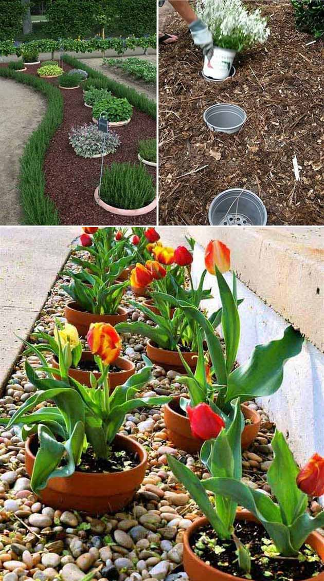Dig a hole and fill it with an empty plastic pot, so that you can easily replace your seasonal potted plants | Clever Gardening Ideas on Low Budget