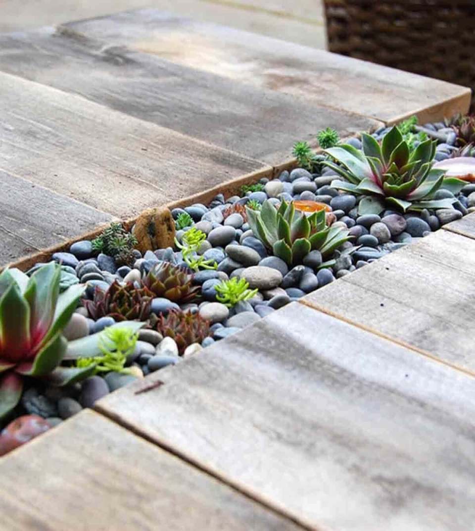 Built-In Rock Garden for Succulents