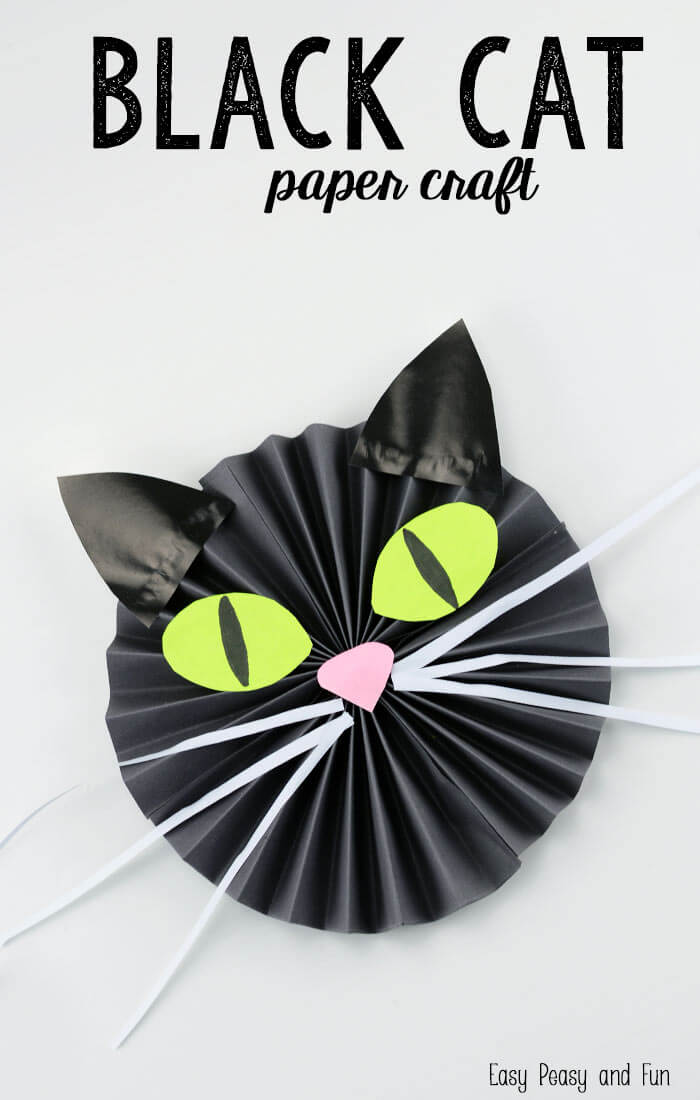 Witch's Kitty Paper Cat | Fun & Creative DIY Halloween Crafts for Kids