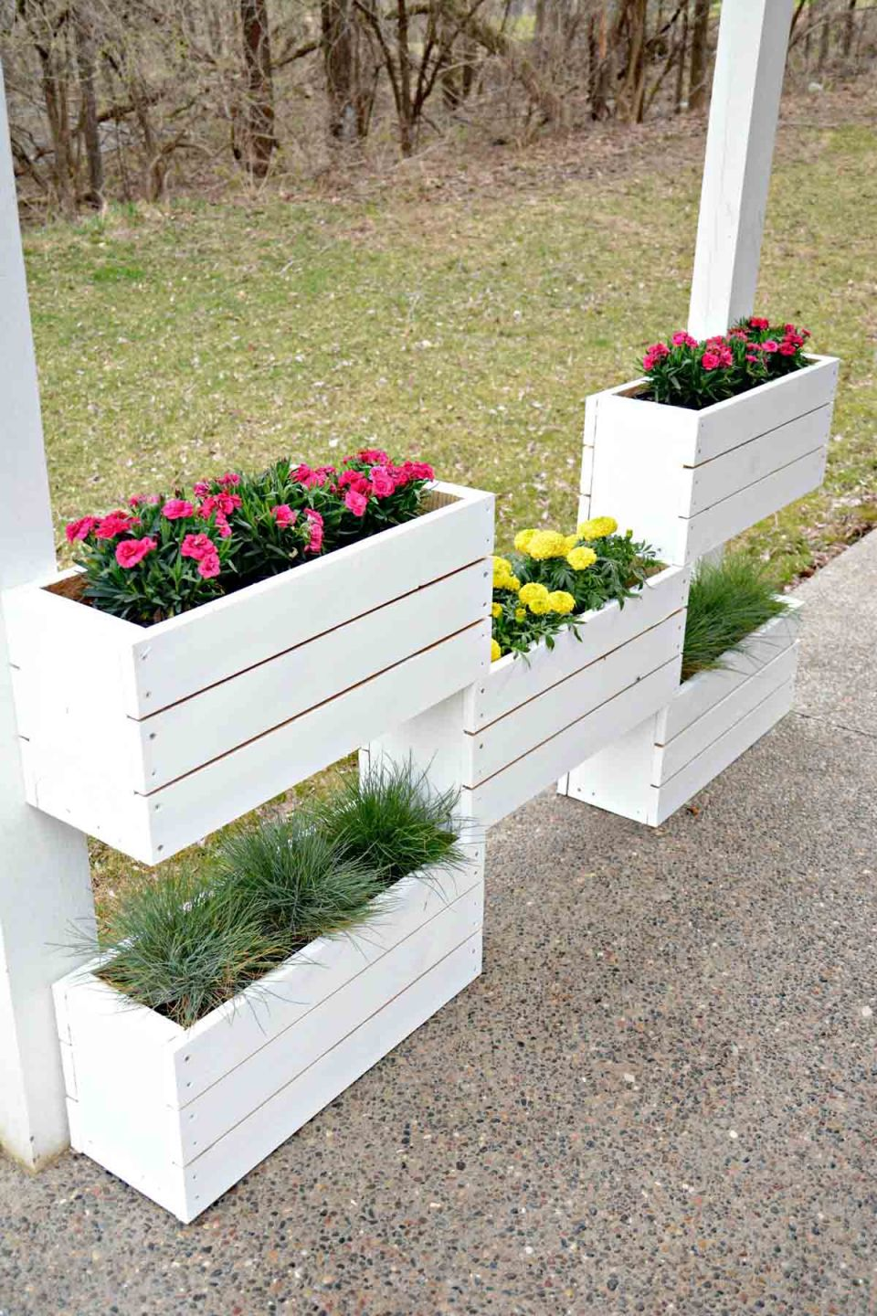 Tiered Wooden Crate Built-In Planter Boxes