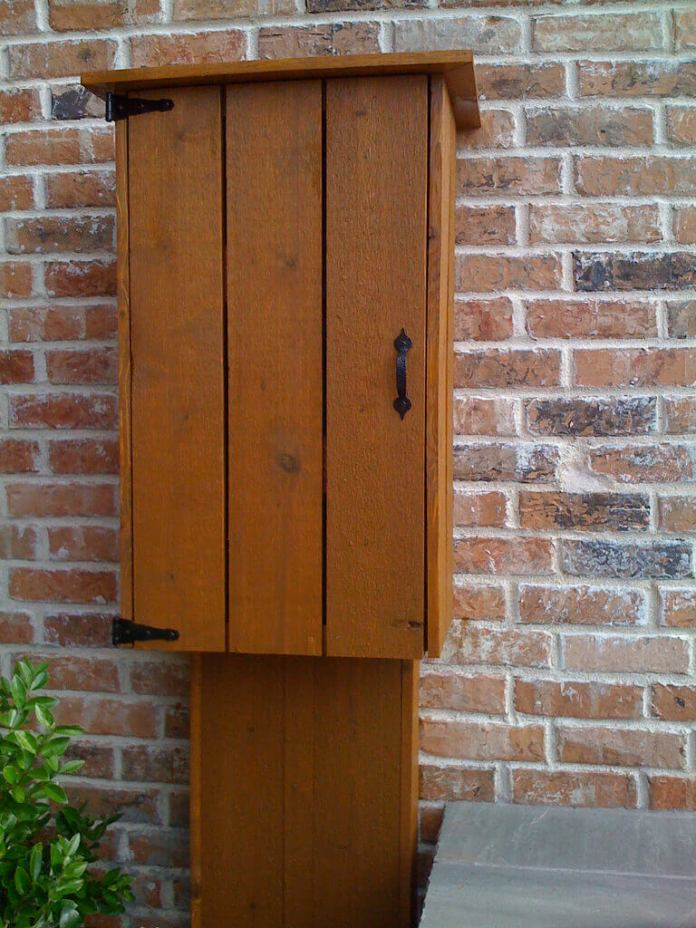 This Pretty Cabinet Hides Utility Box and Wires | Outdoor Eyesore Hiding Ideas