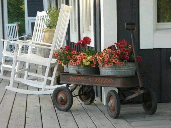 A Wagon Full of Flowers | Vintage Porch Decor Ideas
