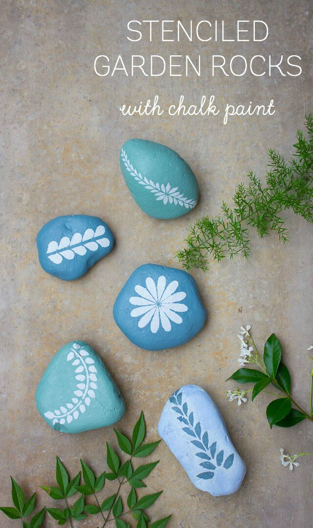 Garden Rocks Pretty in Leaves and Blue   DIY Painted Garden Decoration Ideas