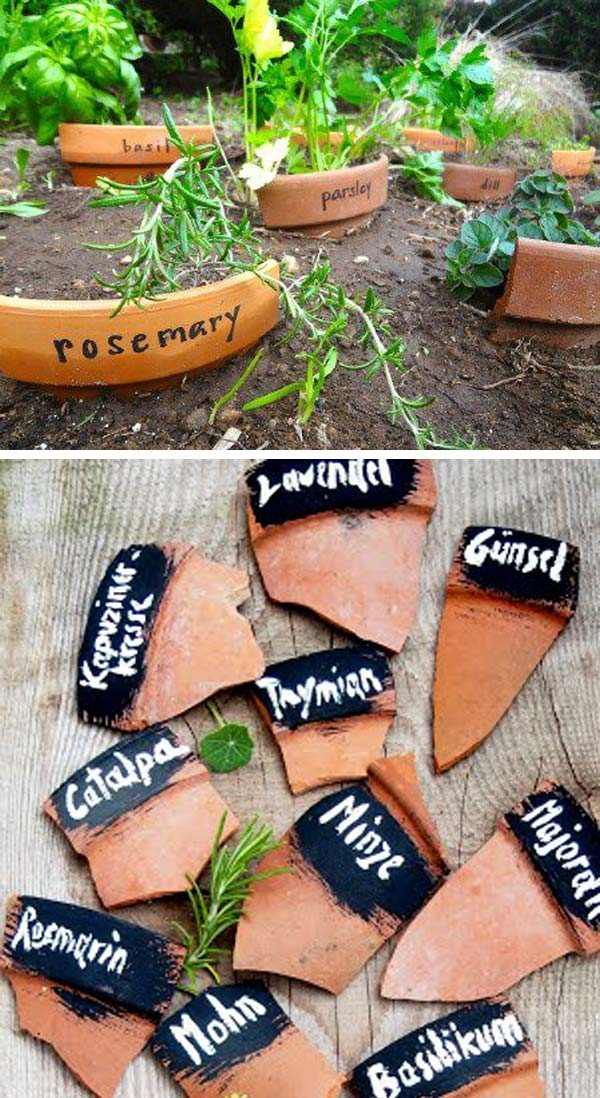 Make plant markers out of broken pots | Clever Gardening Ideas on Low Budget