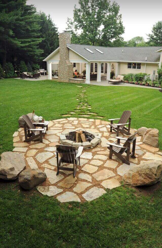 Stone Footpath Leading to a Gorgeous Pit | Awesome Firepit Area Ideas For Your Outdoor Activities