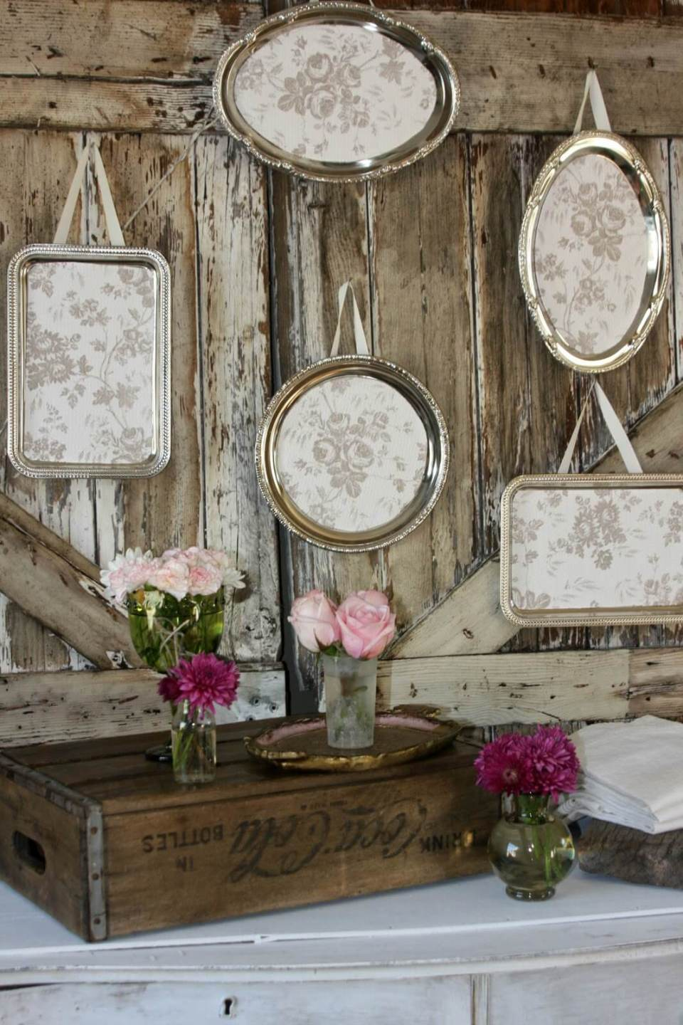 Antique Silverplate Hanging Wall Art   Vintage Porch Decor Ideas