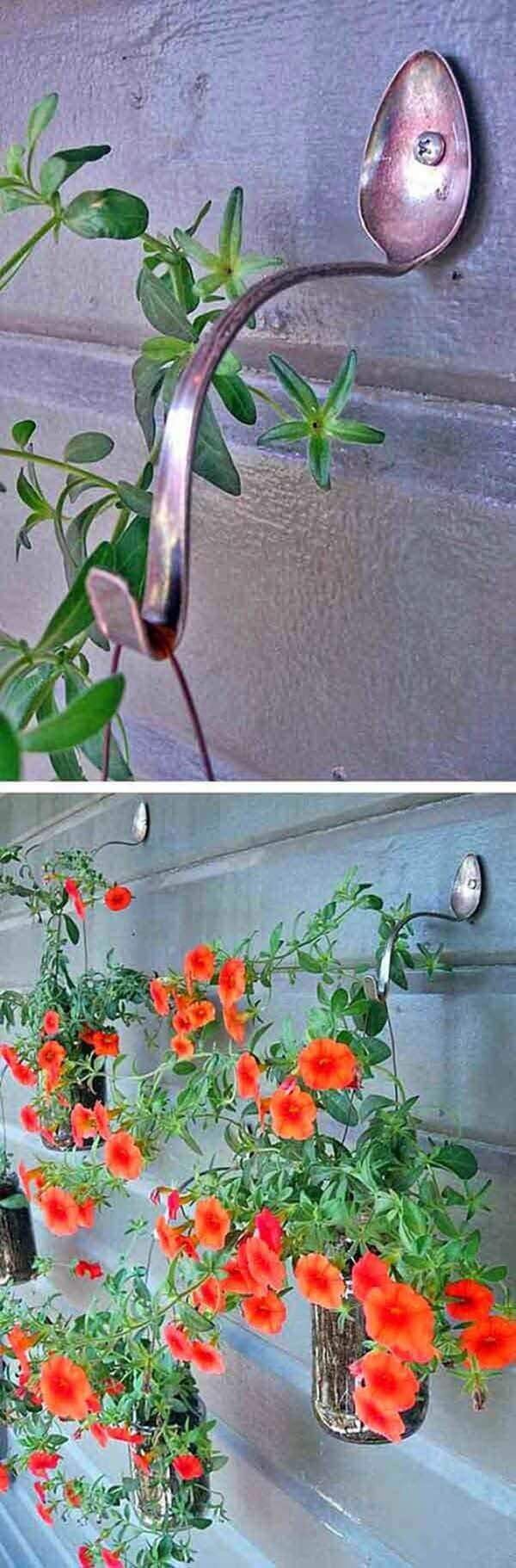 Hanging Basket Hooks Made From Spoons | DIY Outdoor Hanging Planter Ideas | Plant Pot Design Ideas