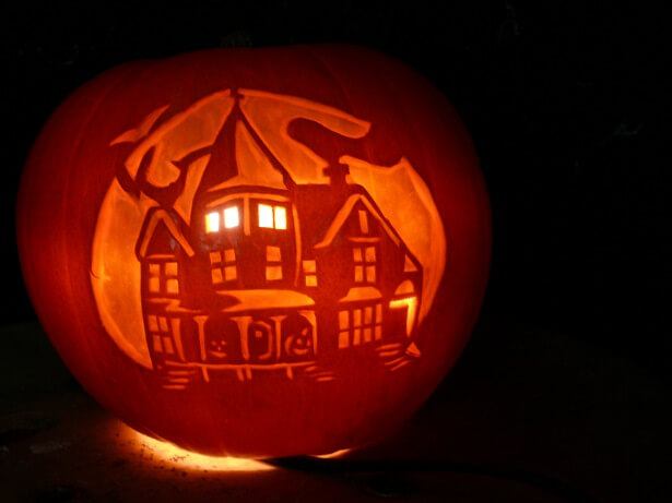 DIY Pumpkin Carving Ideas: Haunted House