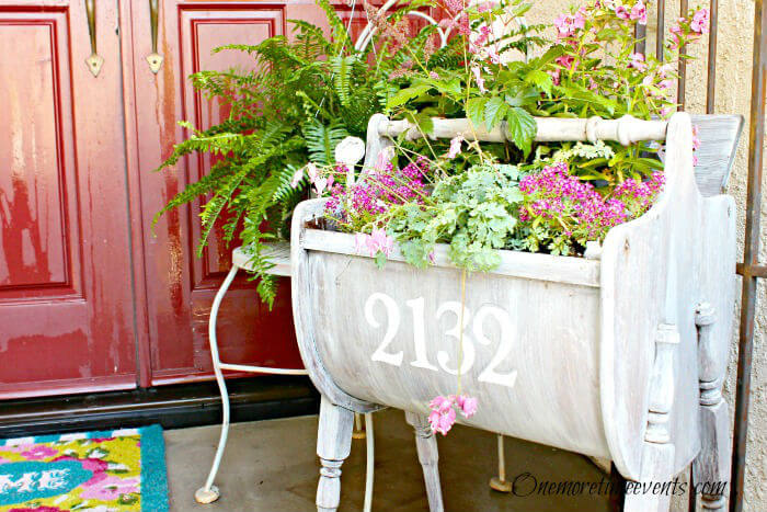 Portable, Weathered Sewing Cabinet Planter | Vintage Porch Decor Ideas