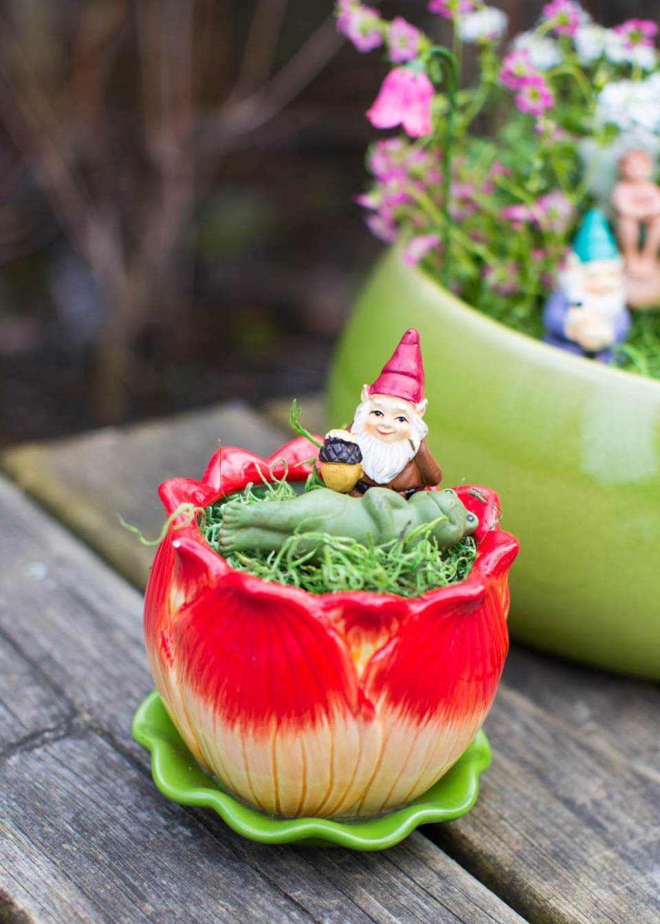 Fairy Tea Cup Garden Ornament | fairy garden accessories | miniture fairy garden ideas inspiration | homemade fairy garden decorations
