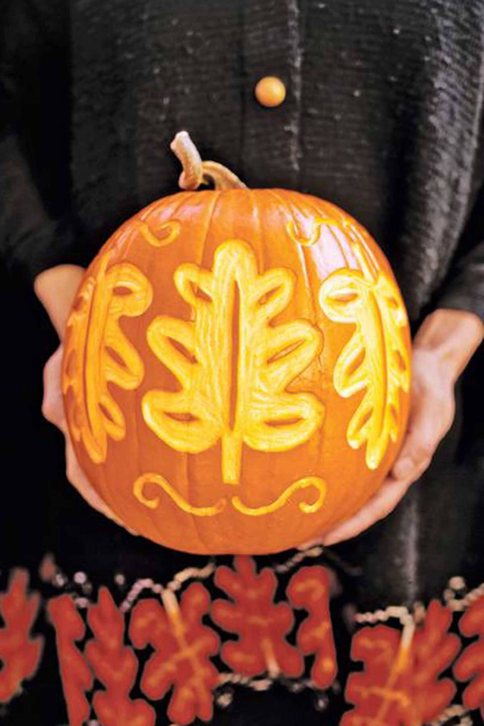 DIY Pumpkin Carving Ideas: Fall Floral Prints