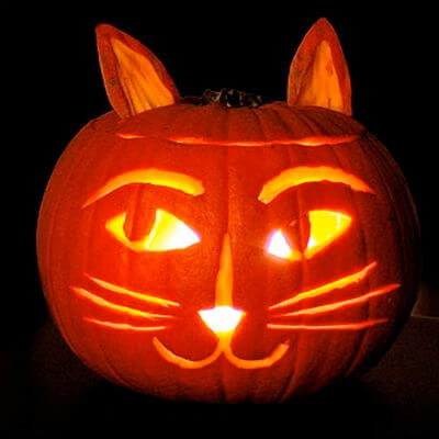 DIY Pumpkin Carving Ideas: Kitty Cat