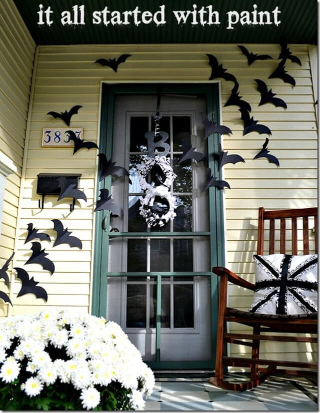 Beautiful Bats As Long as They Are Paper   Scary DIY Halloween Porch Decoration Ideas   vintage halloween porch