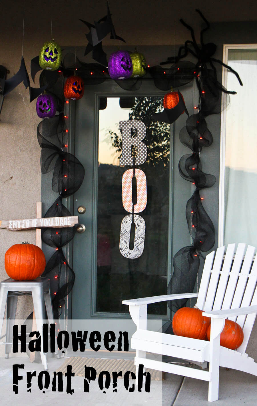 Enter Here for Halloween Fun | Scary DIY Halloween Porch Decoration Ideas | vintage halloween porch