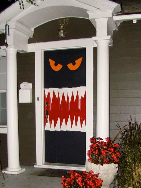 Halloween Door Decoration Ideas: Hungry Monster Halloween Door Decor