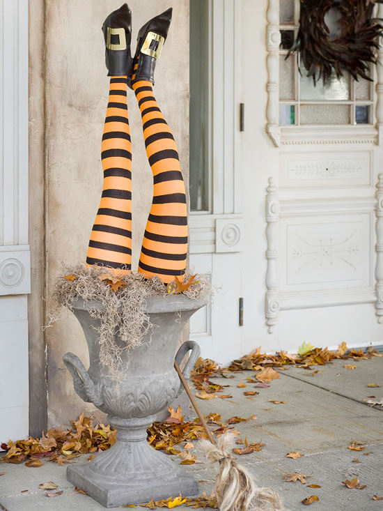 Halloween Door Decoration Ideas: The Up-Side-Down Witch